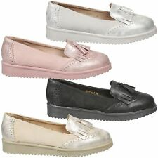 Leilani Womens Flats Low Heels Slip On Tassel Loafers Ladies Two Tone Shoes Size