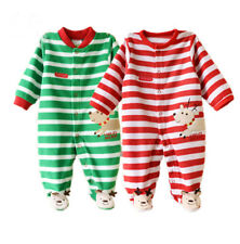 Newborn Baby Boys Girls Matching Green Red Striped Christmas Deer Footed Romper
