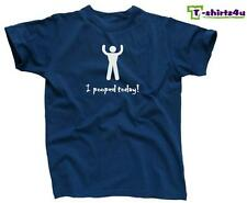 I POOPED TODAY! Funny Cool Party Humor Retro College Tee - T-Shirt - NEW - Blue