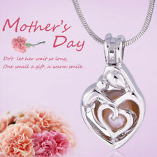 Mother And Baby Silver Cage Pendant, Akoya Oyster Pearl  For  Mother's Day Gift