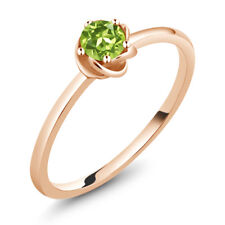 10K Rose Gold Solitaire Engagement Ring 0.30 Ct Round Green Peridot