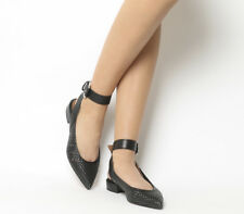 Womens Office Fusion Weave Point Ankle Strap Flats BLACK WOVEN LEATHER Flats