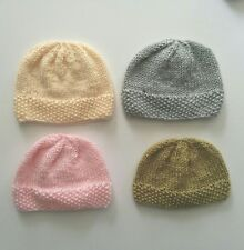 New Hand Knit Newborn 0-3 months Baby Seed Moss Brimmed Beanie Hat Adorable Gift
