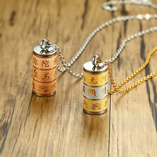 Men Women Buddha Prayer Mantra Bottle Urn Necklace Cremation Jewelry Charms