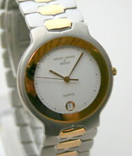 Bailey Banks & Biddle SS 2 Tone Mens Bracelet Watch New NOS $347 Val 1990s Swiss