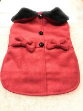 Dog Coat Jacket Size M Pet Puppy Red With Dual Bow