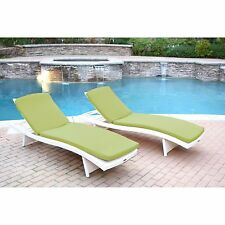 2 Piece Green Cushion Resin Wicker Chaise Lounge Set Home Outdoors Furniture