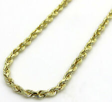 "Mens Ladies 1MM Solid 14K Yellow Gold Diamond Cut Rope Chain Necklace 16"" - 30"""