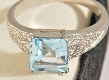 3.35 CTS Genuine Blue TOPAZ set in Pure 925 Sterling Silver Ladies Ring Size 9