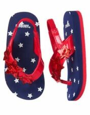 GYMBOREE GIRLS RED WHITE & CUTE BLUE JULY 4TH PATRIOTIC SANDALS SHOE 3-4 5-6 7-8