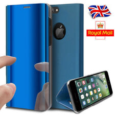 Luxury Clear View Mirror Leather Glossy Flip Stand Back Case Cover For iPhone 7