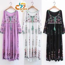 70s Vintage Hippie Mexican Floral Embroidered Deep neck BOHO Ethnic Maxi Dress