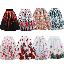 Women Vintage Skirts Pocket Design High Waist Print Pleated Midi Skirt PLUS SIZE