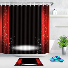 Black Background Stage Curtains Shower Curtain Set Waterproof Polyester Fabric