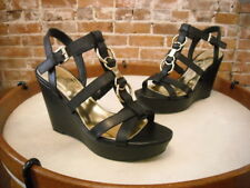 Marc Fisher Genny Black Leather Multi Strap Wedge Sandals NEW