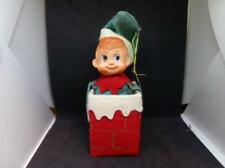 Vintage Christmas Elf or Pixie Sitting In Chimney - Christmas Ornament