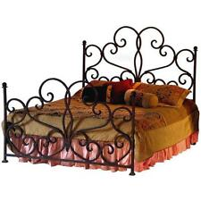 Antique Style King Size Bed Frame Handmade Floral Patter Rustic Black Red Iron