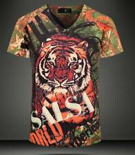 New Fashion Men's Tiger Casual Cotton V-Neck Short sleeve Tee T-Shirt M-XXL