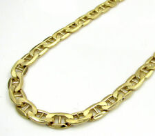 """10K Yellow Gold Mens Womens Mariner Link Chain Bracelet 3MM 7""""- 8"""" Lobster Clasp"""