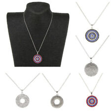 Womens Crystal Rhinestone Round Disc Pendant Necklace Silver Plated Chain
