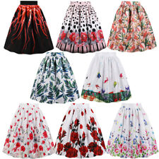 PLUS SIZE Womens Vintage Skirt Pocket Zipper High Waist Print Pleated Midi Skirt