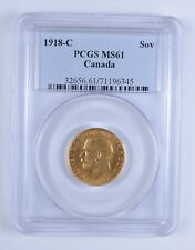 MS61 1918-C Canada Gold 1 Sovereign - PCGS Graded *3140