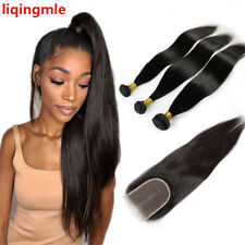 100% Human Hair Straight Remy Brazilian Hair Weave 3 Bundles With Lace Closure