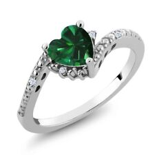 0.71 Ct Green Simulated Emerald White Created Sapphire 925 Sterling Silver Ring