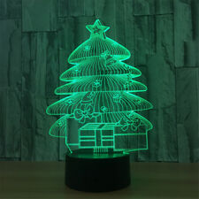 Christmas Tree 3D Visual Night Light 7 Colors Change LED Desk Lamp Bedroom