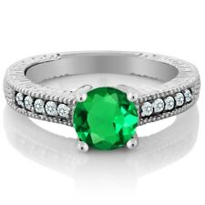1.37 Ct Green Simulated Emerald White Created Sapphire 925 Sterling Silver Ring
