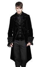 Jacket man velvet black with embroidery, falsely 2pcs, gothic ele Devil Fashio
