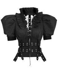 Shirt black with sleeves puffed and webbing/ straps, woman gothic punk Rave