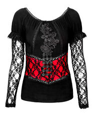 Top black and red sleeve lace and embroidery elegant gothic r Punk Rave