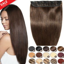 1Piece Remy Human Hair Extensions 5 Clips In Black Brown Blonde Wave Straight SY