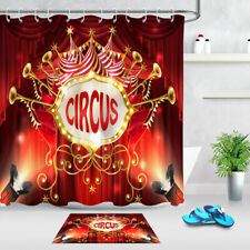 Circus Red Curtains Stage Lighting Design Waterproof Fabric Shower Curtain Set