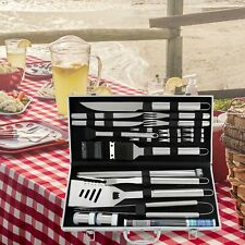 26Pc Stainless Steel BBQ Tools Set Barbecue Grilling Utensil Accessories Camping