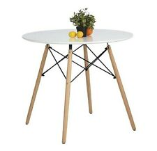 Kitchen Dining Table White Round Coffee Table Modern Leisure Wooden Tea Table