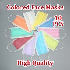 10PCS Colored Disposable Face Masks 3Ply Medical Surgical Dust Masks