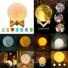 3D Print Moon Saturn Lamp Colorful Change Touch Switch Night Light Xmas Gift LOT
