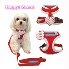 DEAR DOG Heart Harness Red Soft Air Mesh Removable Pin Leash Included Puppy