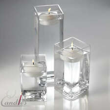"18 Square Vases & 18 Floating Candles 3"" Wedding Decor"
