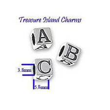 .925 Solid Sterling Silver BLOCK LETTER ALPHABET Spacer Bead 5.8mm, 3.8mm Hole