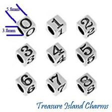 # 0 thru 9 .925 Sterling Silver BLOCK NUMBER Bead 5.8mm