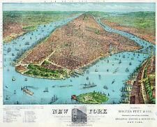 3306 Vintage Poster.Powerful Graphic Design. New York view from top. Art Decor