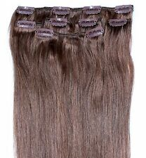 "16"" 18"" 20"" Light Brown Clip in HUMAN HAIR EXTENSION #8"