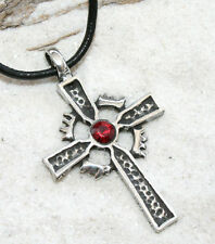 CELTIC CROSS CRYSTAL Pewter Pendant Leather Necklace