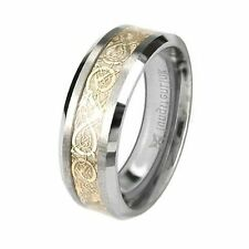 Tungsten Carbide Comfort Fit Flat Men Celtic Dragon Gold Inlay Ring Band 8mm