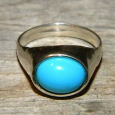 Sterling Silver Sleeping Beauty Turquoise Dome Ring Made in the USA!