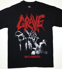 GRAVE YOU'LL NEVER SEE...'92 DEATH METAL ENTOMBED MORGOTH  NEW BLACK T-SHIRT