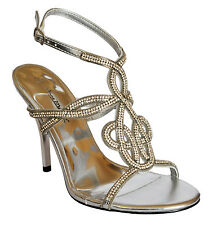 WOMENS SILVER DIAMANTE  EVENING/ PARTY/ PROMS / BRIDESMAIDS SANDALS  SIZE 3-8